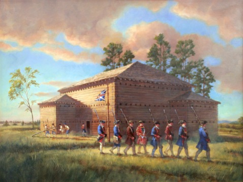 An artist's rendering of Fort Dobbs. Image from the N.C. Historic Sites.